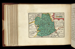 Map of Shropshire, from Atlas of the British Isles, Pieter Van Den Keere